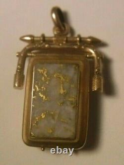 Antique CALIFORNIA GOLD RUSH GOLD BEARING QUARTZ Swivel Pocket Watch Fob Locket