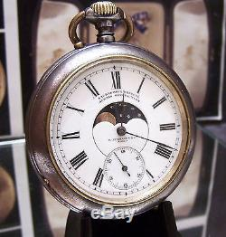 Antique Calendar Moonphase Verhagen C1900 Double 2 Sided Pocket Watch Serviced