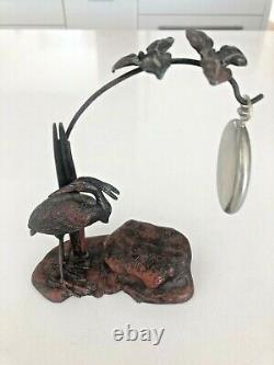 Antique Cast Metal Pocket Watch Stand/Holder PLUS Antique DOXA PocketWatch