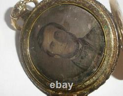 Antique Civil war era etched locket with 10k gold cover photo pocket watch style