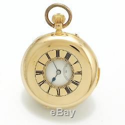 Antique Dent Minute Repeater Pocket Watch 28 Jewels 18K Gold Demi-Hunter Enamel