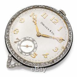 Antique Dreicer & Co Platinum & Diamond Pocket Watch 19 Jewel 42.11mm Very Rare