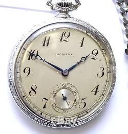 Antique E Howard Solid 14K White Gold 10 Size 17J Open Face 50g Pocket Watch
