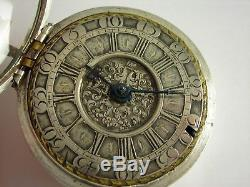 Antique Early English verge Fusee pocket watch. Made in 1710. Canterbury