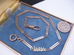 Antique Edwardian Art Deco 10K Yellow Gold Pocket Watch Chain Linked Dog Clasp