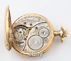 Antique Elgin 14k Solid Gold 15-Jewel Pocket Watch Size 0 Full Hunter 1910