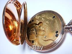 Antique Elgin 14k Solid Gold Hunter Case Fancy Heavy Case 1888 Vintage Not Scrap