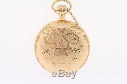 Antique Elgin 14k Yellow Gold 15 Jewel 0s Fancy Dial Double Hunter Pocket Watch