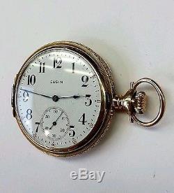 Antique Elgin hunter pocket watch 14k solid yellow gold mechanical 17 jewels