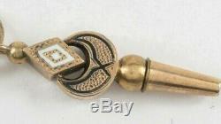 Antique Enamel Pocket Watch Winding Key & Fob