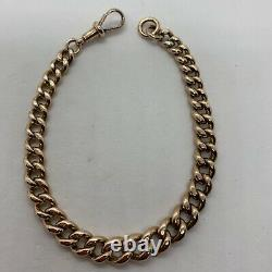 Antique English 9k rose red gold cable link chain pocket watch bracelet 30.4g