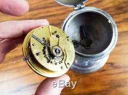Antique English Pocket Watch On Cherub Stand Silvered Face Fusee Movement 19th C