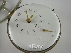 Antique English verge fusee Doctor's pocket watch. Sterling silver, all original