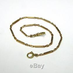 Antique Estate SOLID 14K Gold 13.5 Fancy Bar Link Pocket Watch Chain 9.6g