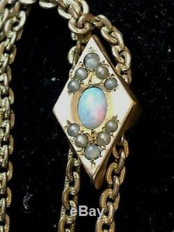 Antique Estate Victorian Natural Opal Watch Fob & Chain Slider Necklace 50