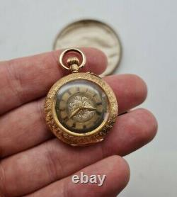 Antique French 14ct Yellow Gold Ladies Fob Watch Working Condition