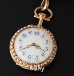 Antique French 18ct Gold Enamel & Seed Pearl Ladies Ribbon Brooch Pocket Watch