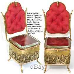 Antique French 7 Miniature Chair Shaped Pocket Watch or Pendant Display, Casket