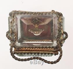 Antique French Bronze Ormolu Bevelled Glass Jewellery Trinket Pocket Watch Box