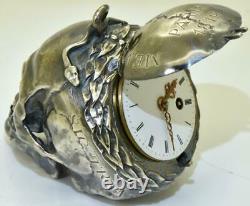 Antique French C. Briet, Memento Mori silver Skull Verge Fusee pocket watch c1819