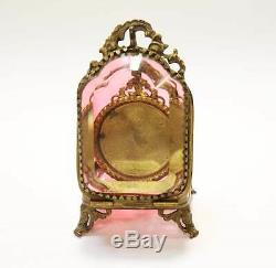 Antique French Cranberry Glass Gilt Pocket Watch Holder Case Beveled Clear Glass