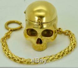Antique French Memento Mori 18k gild Skull Verge Fusee pocket watch c1790s. RARE