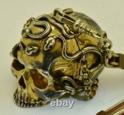 Antique French Memento Mori silver Skull&Snakes Verge Fusee pocket watch c1800's