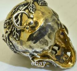Antique French Memento Mori solid silver Skull Verge Fusee pocket watch c1790's