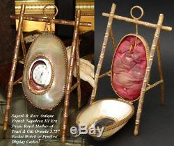 Antique French Mother of Pearl Pocket Watch or Pendant Display, Palais Royal