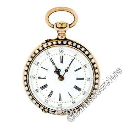 Antique French Pocket Watch 18k Gold White Hand Painted Enamel Seed Pearl Case