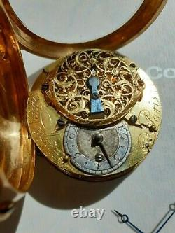 Antique French Solid Gold 18K Verge Pocket Watch circa 1750