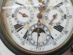 Antique French Triple Calendar Moonphase Goliath pocket watch, working