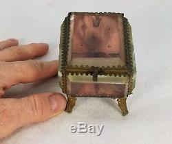 Antique French Tufted Brass & Beveled Glass Pocket Watch Casket Display Box