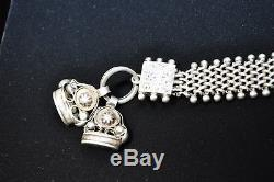 Antique French Victorian 800 Silver Pocket Watch Chain 2 Fobs