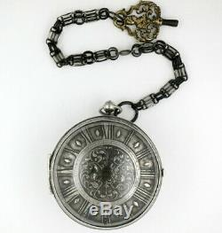 Antique French pocket watch, single handed verge, Saumur, c1690