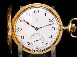 Antique Full Hunter Omega 18K Solid Gold Pocket Watch. Switzerland, 1923