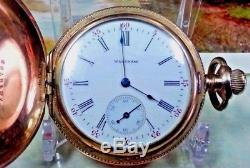 Antique Full Hunter Rolled Gold Waltham Fob Pocket Watch 1898 15 Jewels