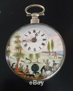 Antique Fusee Movement Pocket Watch lovely Enamel Face and moon face second