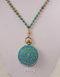 Antique GP Wehlan & Co 18k Y Gold Turquoise Rose Cut Diamond Pocket Watch
