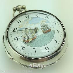 Antique Georgian 19thC solid silver verge fusee pocket watch Royal Galleon
