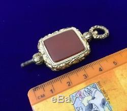 Antique Georgian Victorian Gold Carnelian Agate Swivel Ornate Watch Key Fob