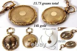 Antique Georgian to Victorian Era 14k Gold Pocket Watch Style Mourning Locket