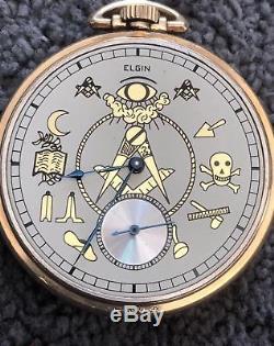 Antique Gold Fill Masonic Elgin Pocket Watch 15 Jewels 1920 Mint