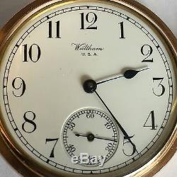 Antique Gold Plated Full Hunter Waltham Pocket Watch 17 Jewel Working Excellent