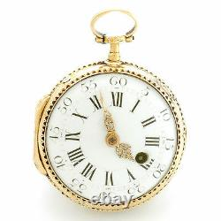 Antique Gold Repousse Verge Fusee Pocket Watch Ca1764 18k Multicolor, Enameled
