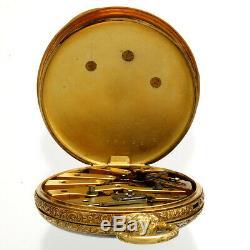 Antique Gold Tobias Triple Dial Pocket Watch 1860s