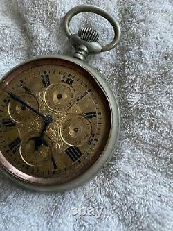 Antique Goliath Pocket Watch Moon phase