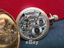 Antique Half Hunter Gold Plated Waltham Pocket Watch