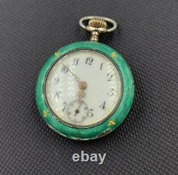 Antique Hallmarked Silver Gilt Enamel Fob Watch Pendant Continental European