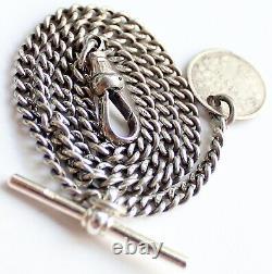 Antique Hallmarked Solid Silver Albert Pocket Watch Chain & Coin Fob Rare